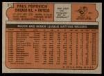 1972 Topps #512  Paul Popovich  Back Thumbnail