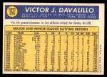1970 Topps #256  Vic Davalillo  Back Thumbnail