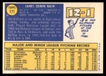 1970 Topps #171  Jim Nash  Back Thumbnail
