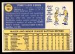 1970 Topps #163  Syd O'Brien  Back Thumbnail