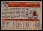 1957 Topps #75  Jimmy Piersall  Back Thumbnail