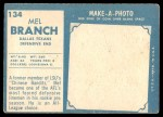 1961 Topps #134  Mel Branch  Back Thumbnail