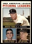 1964 Topps #4 AP  -  Whitey Ford / Camilo Pascual / Jim Bouton AL Pitching Leaders Front Thumbnail