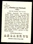 1961 Golden Press #11  Gabby Hartnett     Back Thumbnail
