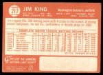 1964 Topps #217  Jim King  Back Thumbnail