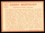 1964 Topps #141  Danny Murtaugh  Back Thumbnail