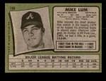 1971 Topps #194  Mike Lum  Back Thumbnail