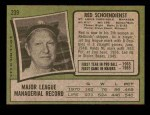 1971 Topps #239  Red Schoendienst  Back Thumbnail