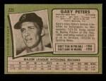 1971 Topps #225  Gary Peters  Back Thumbnail