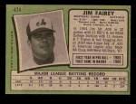 1971 Topps #474  Jim Fairey  Back Thumbnail