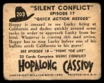 1950 Topps Hopalong Cassidy #203   Quick action needed Back Thumbnail