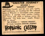 1950 Topps Hopalong Cassidy #209   Runaway horse Back Thumbnail