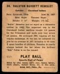 1941 Play Ball #34  Rollie Hemsley  Back Thumbnail