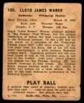 1940 Play Ball #105  Lloyd Waner  Back Thumbnail