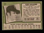 1971 Topps #224  Alan Gallagher  Back Thumbnail