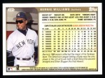 1999 Topps #335  Bernie Williams  Back Thumbnail