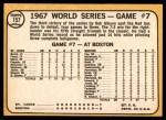 1968 Topps #157   -  Bob Gibson / Tim McCarver / Orlando Cepeda / Bobby Tolan World Series - Game #7 - St. Louis Wins It! Back Thumbnail