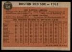 1962 Topps #334   Red Sox Team Back Thumbnail
