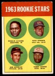 1963 Topps #158   -  Tommy Harper / Rogelio Alvarez / Dave Roberts / Bob Saverine Rookie Stars   Front Thumbnail