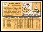 1963 Topps #226  Julian Javier  Back Thumbnail