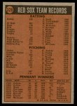 1972 Topps #328   Red Sox Team Back Thumbnail