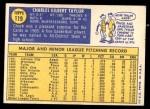 1970 Topps #119  Chuck Taylor  Back Thumbnail