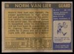 1971 Topps #19  Norm Van Lier  Back Thumbnail
