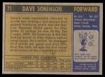 1971 Topps #71  Dave Sorensen   Back Thumbnail