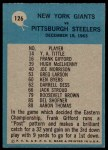 1964 Philadelphia #126   -  Allie Sherman Giants Play of the Year Back Thumbnail