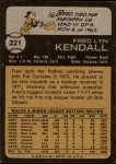 1973 Topps #221  Fred Kendall  Back Thumbnail