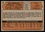 1972 Topps #29 GRN Bill Bonham  Back Thumbnail