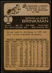 1973 Topps #5  Ed Brinkman  Back Thumbnail