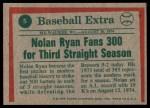 1975 Topps #5   -  Nolan Ryan Fans 300 Back Thumbnail