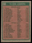 1975 Topps #311   -  Catfish Hunter / Buzz Capra ERA Leaders Back Thumbnail