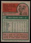 1975 Topps #255  Dwight Evans  Back Thumbnail