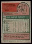 1975 Topps #571  Dave Lemanczyk  Back Thumbnail