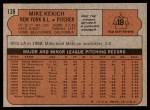 1972 Topps #138  Mike Kekich  Back Thumbnail