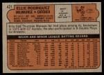 1972 Topps #421  Ellie Rodriguez  Back Thumbnail