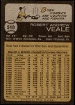1973 Topps #518  Bob Veale  Back Thumbnail