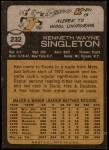 1973 Topps #232  Ken Singleton  Back Thumbnail