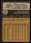 1973 Topps #519  Johnny Edwards  Back Thumbnail