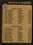 1973 Topps #65   -  Steve Carlton / Luis Tiant ERA Leaders Back Thumbnail