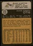 1973 Topps #510  Amos Otis  Back Thumbnail