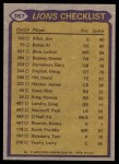 1979 Topps #357   Lions Leaders Checklist Back Thumbnail