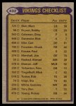 1979 Topps #432   Vikings Leaders Checklist Back Thumbnail