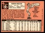 1969 Topps #618  Ramon Webster  Back Thumbnail