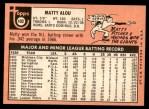 1969 Topps #490  Matty Alou  Back Thumbnail