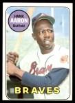 1969 Topps #100  Hank Aaron  Front Thumbnail
