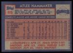 1984 Topps #85  Atlee Hammaker  Back Thumbnail