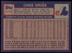1984 Topps #678  Chris Speier  Back Thumbnail